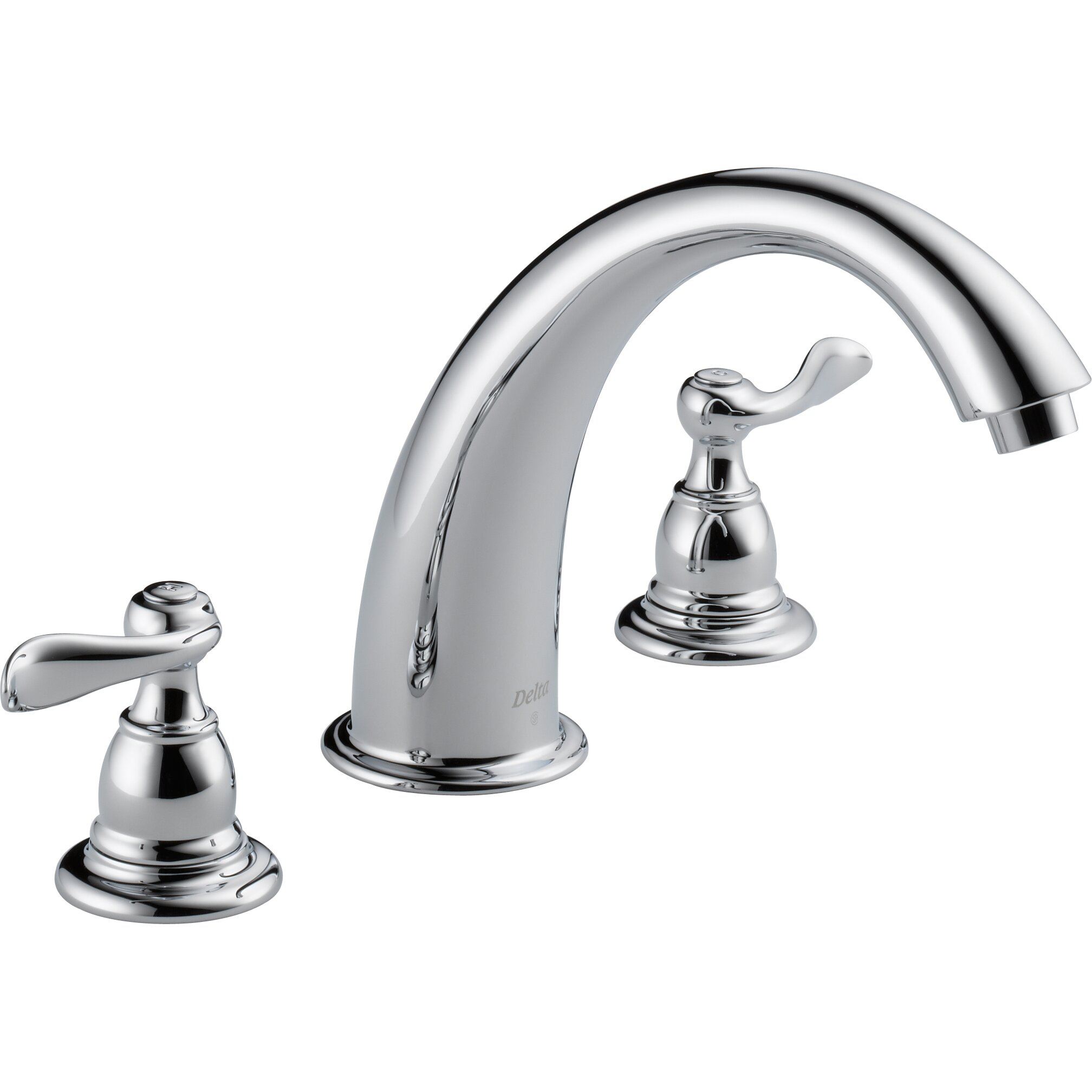 Types of outdoor faucets - Windemere Double Handle Deck Mount Roman Tub Faucet Trim