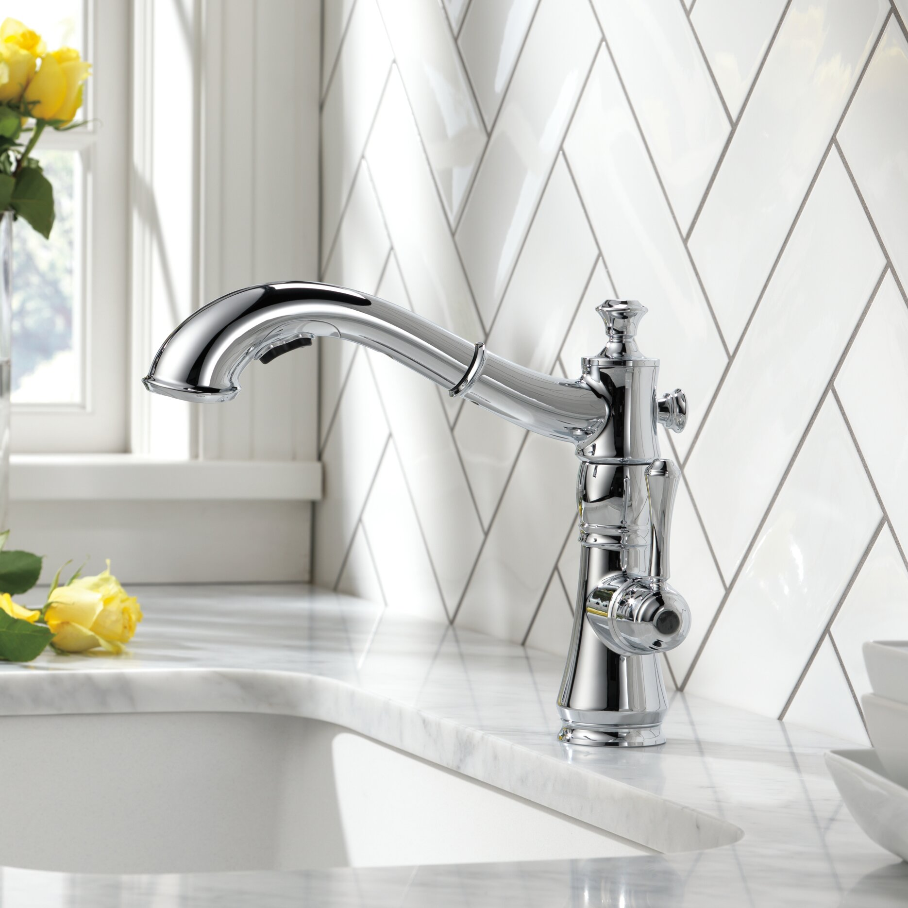 Retractable Kitchen Faucet Delta Cassidy Single Handle Pull Out Standard Kitchen Faucet