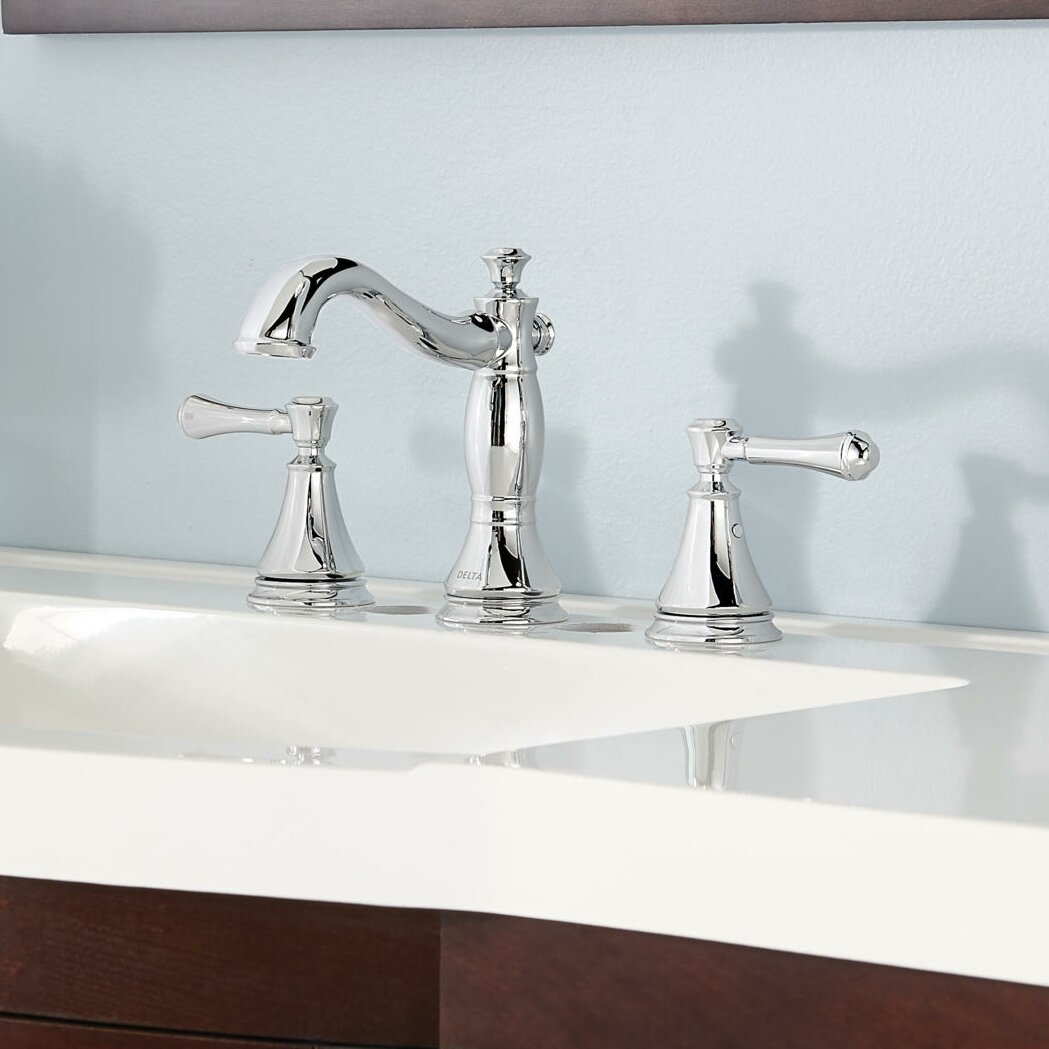 Delta cassidy standard bathroom faucet double handle reviews wayfair for Bathroom sink faucets reviews