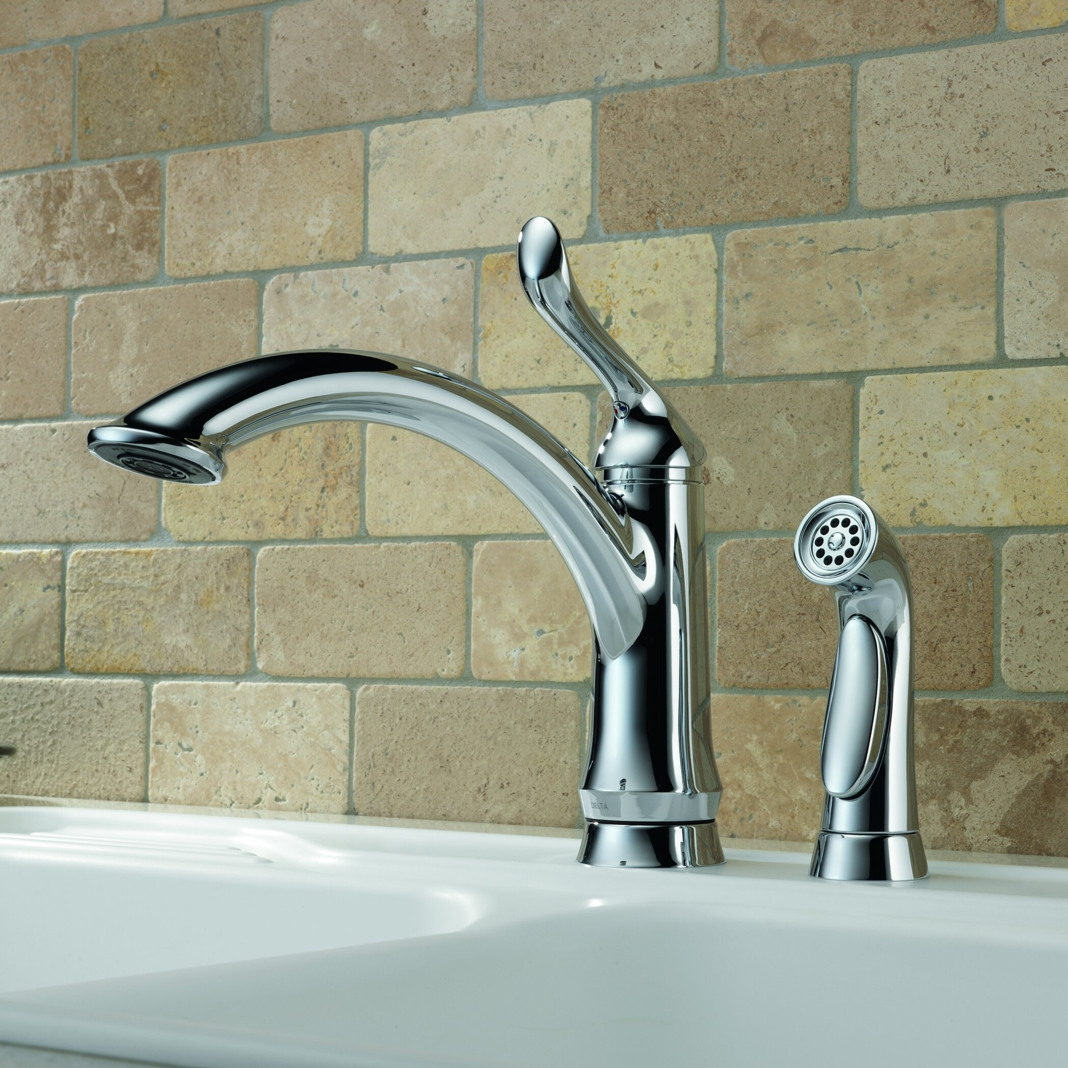 delta linden single handle deck mounted kitchen faucet