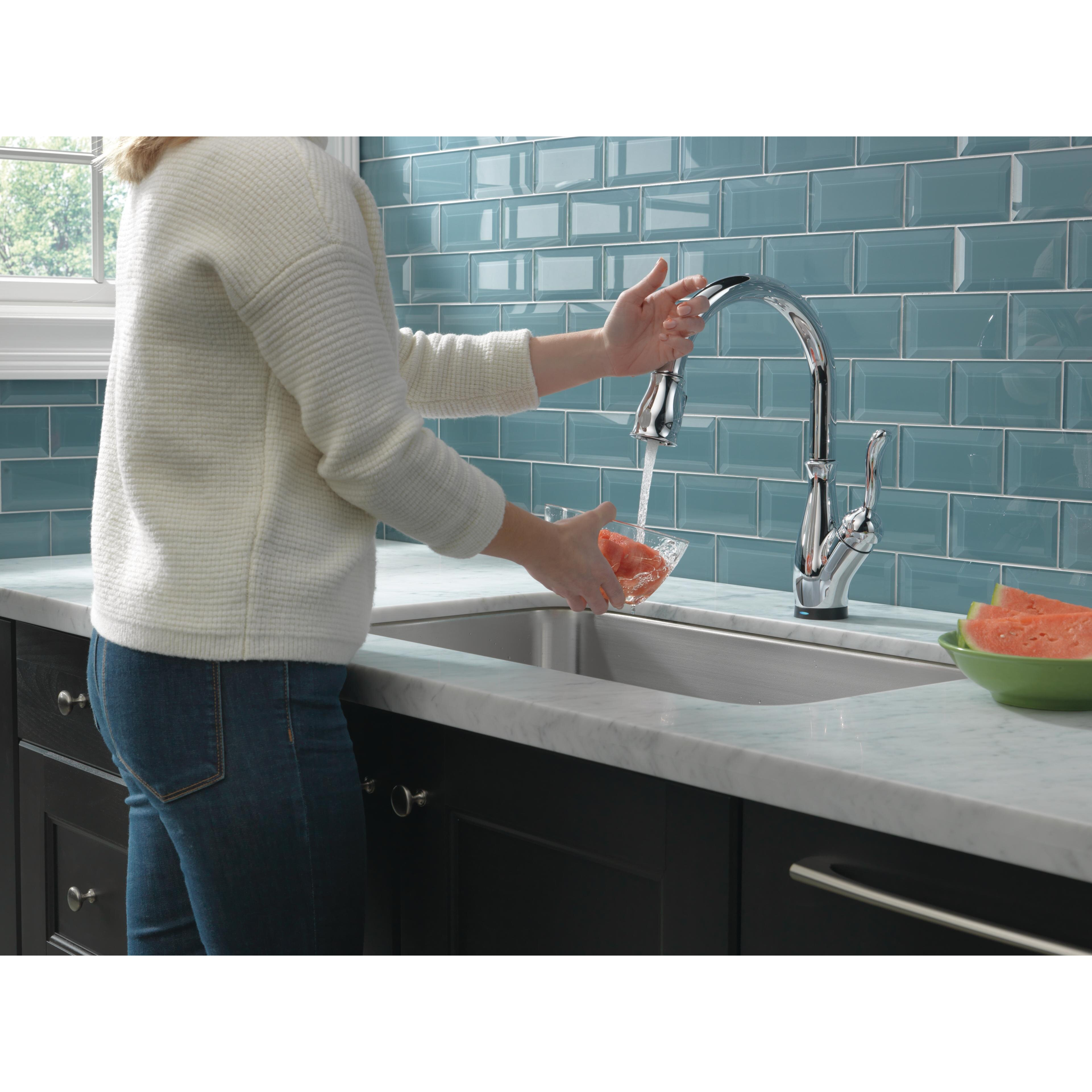 delta leland single handle standard kitchen faucet delta leland single handle pull down standard kitchen