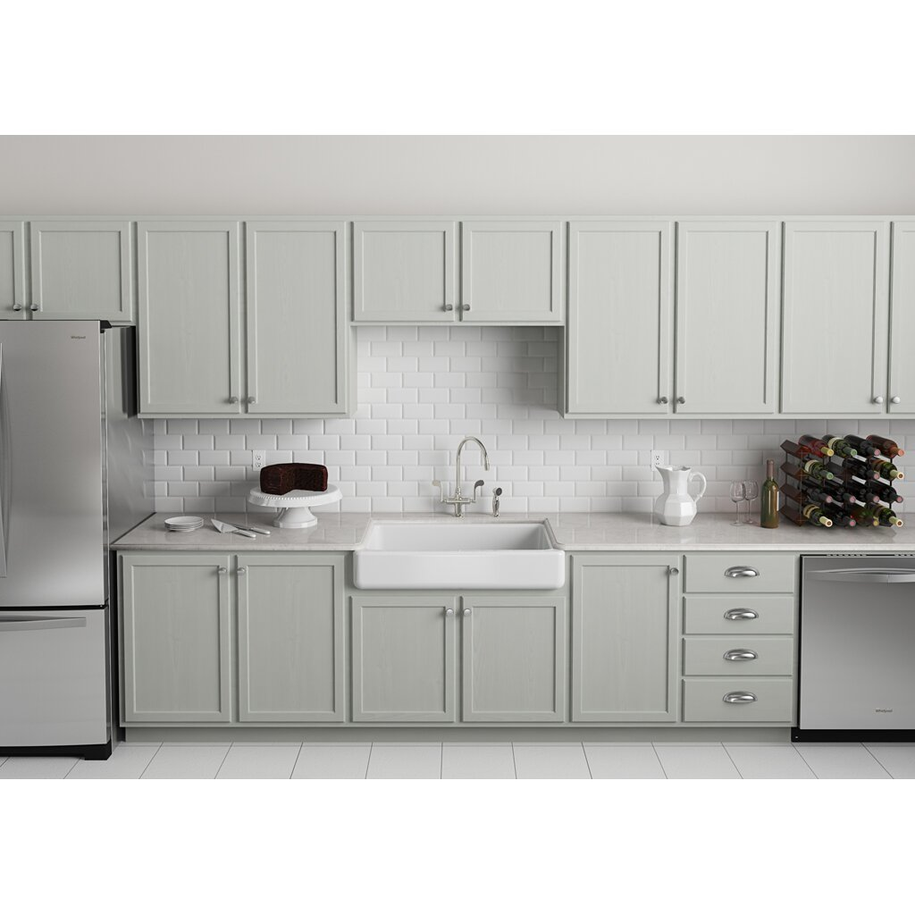 Kohler Whitehaven Self Trimming 35 11 16 x 21 9 16 x 9 5 8 Under Mount Single Bowl Kitchen Sink with Short Apron