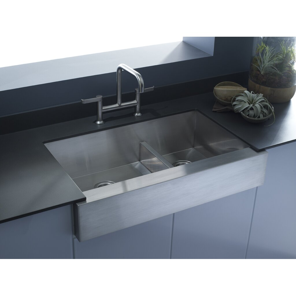 Large Apron Sink : ... Large/Medium Double-Bowl Kitchen Sink, Stainless Steel with Shortened