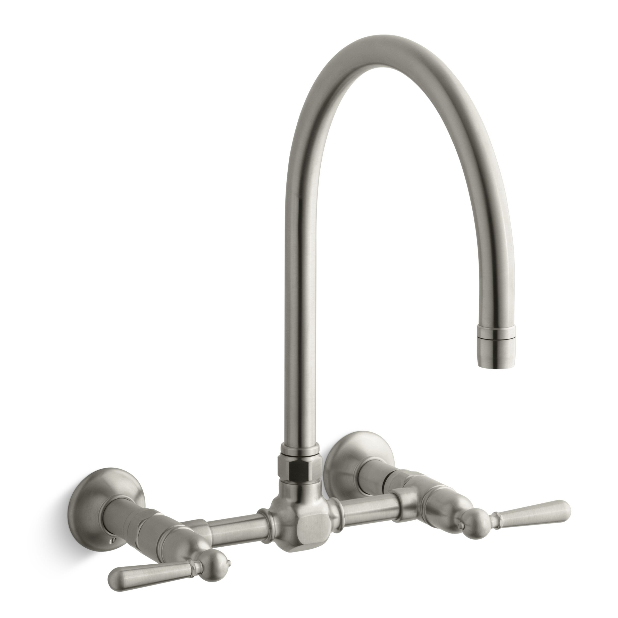 Wall Mounted Kitchen Faucets Kohler Hirisetwo Hole Wall Mount Bridge Kitchen Sink Faucet With