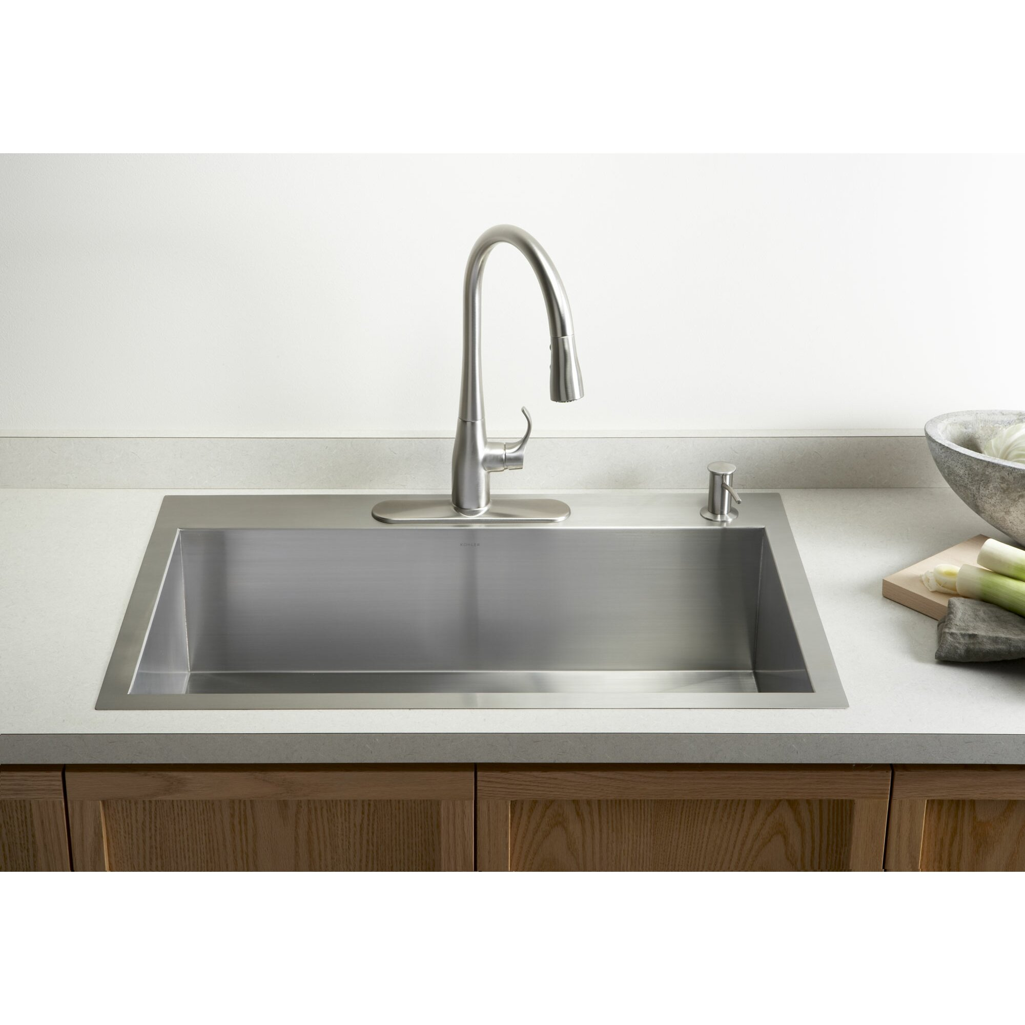 exceptional Single Basin Kitchen Sink 33 X 22 #6: Kohler Vault 33u0026quot; x 22u0026quot; x 9-5/16u0026quot; Top-