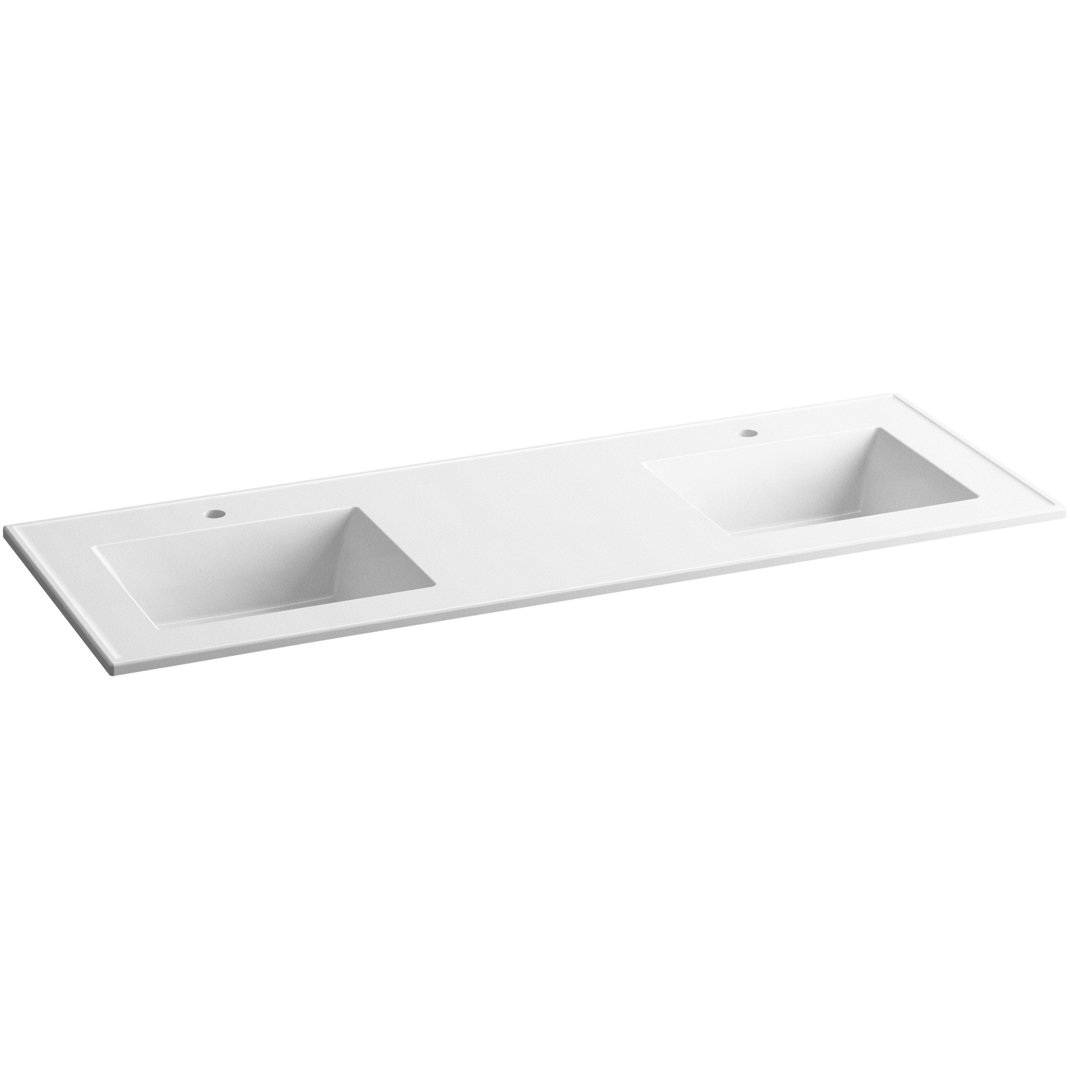 60 inch double sink vanity granite top - Ceramic Impressions 61 Double Bathroom Vanity Top