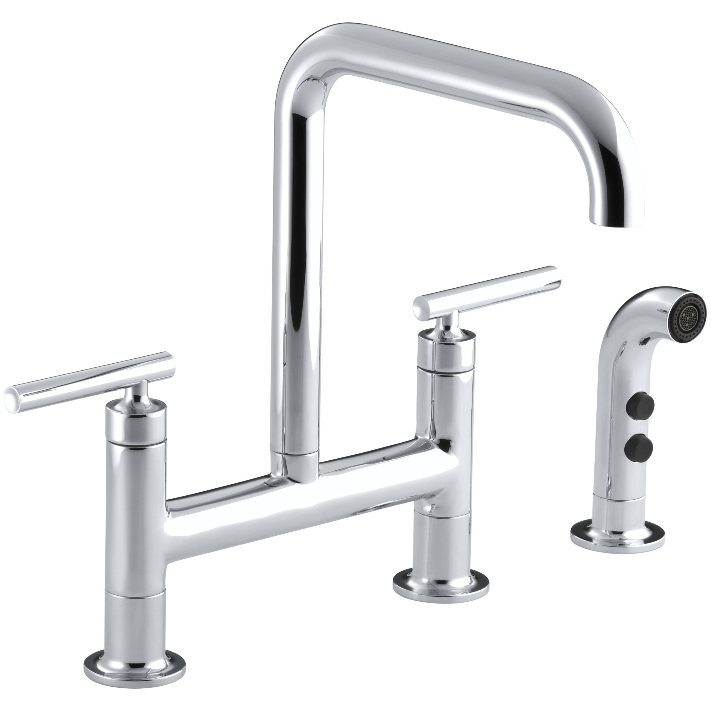 Rohl Kitchen Faucets Reviews Kohler Purist Deck Mount Kitchen Sink Faucet Reviews Wayfair