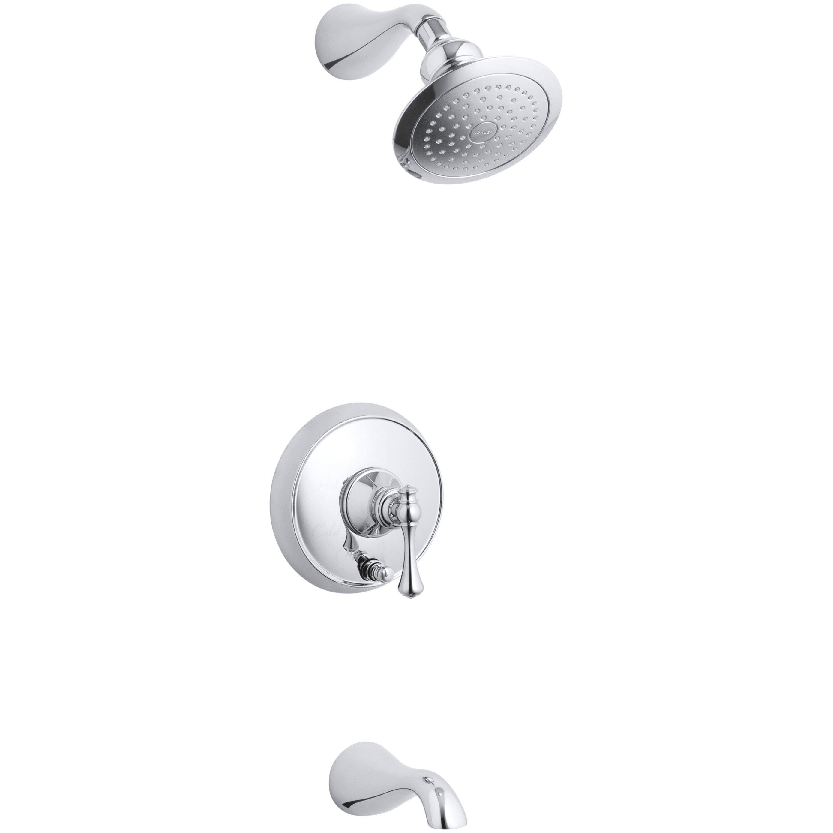 Kohler Revival Rite-Temp Pressure-Balancing Bath and Shower Faucet ... - Kohler Revival Rite-Temp Pressure-Balancing Bath and Shower Faucet Trim  with Push-