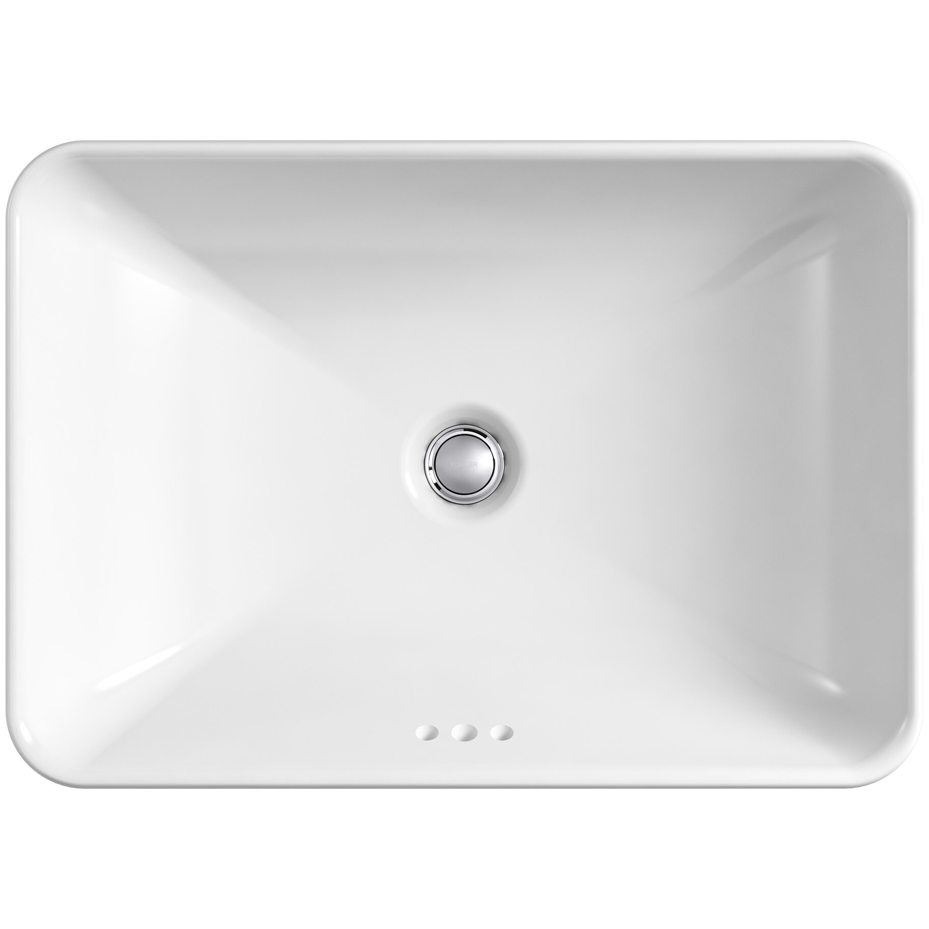Kohler vox rectangle vessel above counter bathroom sink in white reviews wayfair for Above counter bathroom sinks glass
