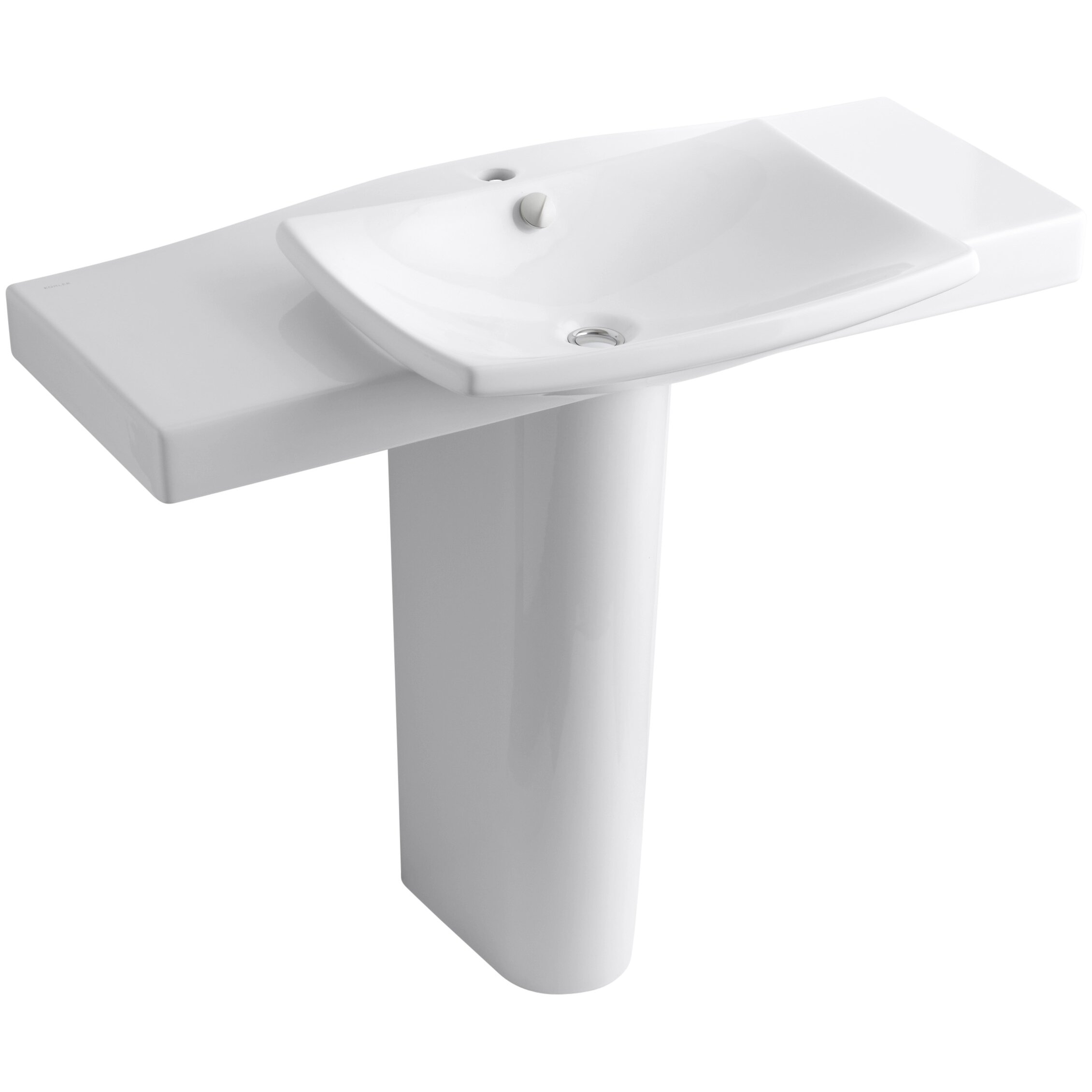 Pedestal Sink Faucet : Kohler Escale Pedestal Bathroom Sink with Single Faucet Hole Wayfair
