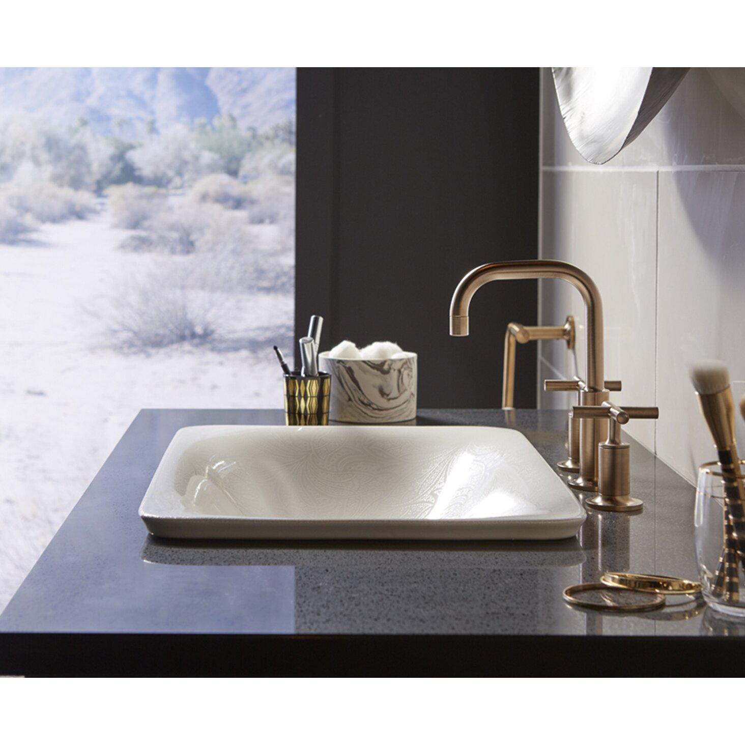 kohler sartorial paisley on carillon wading pool rectangular above counter bathroom sink wayfair. Black Bedroom Furniture Sets. Home Design Ideas