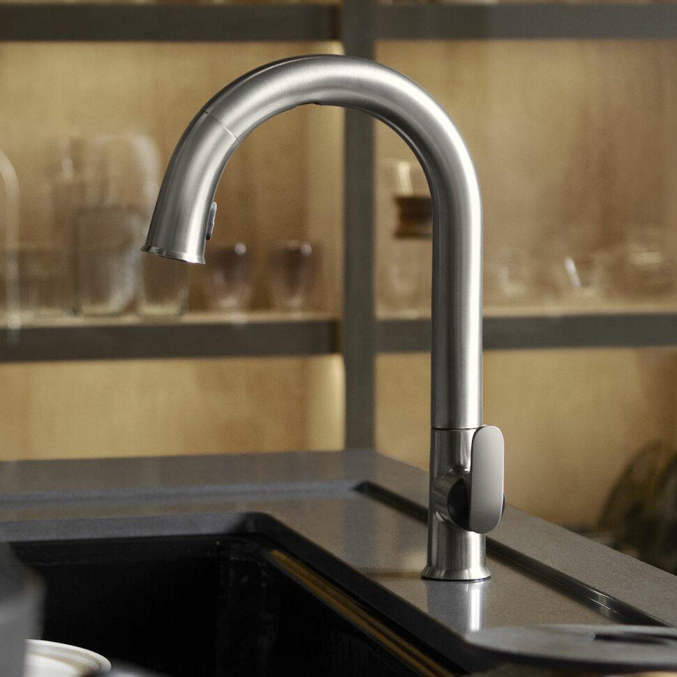delightful Sensate Kitchen Faucet #9: Kohler Sensate Touchless Kitchen Faucet with 15-1/2u0026quot; Pull-Down Spout