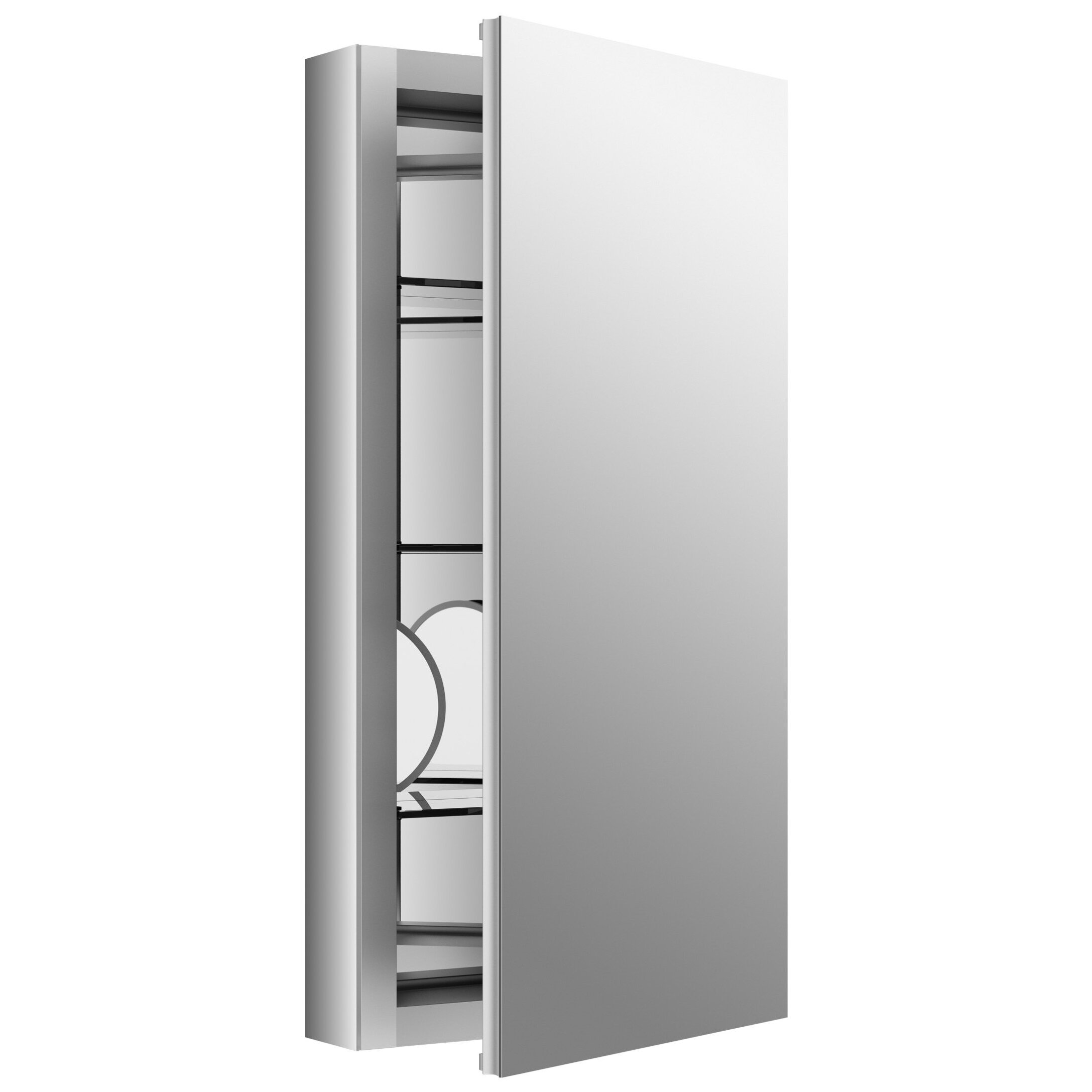 Kohler Verdera 15 Quot W X 30 Quot H Aluminum Medicine Cabinet With Adjustable Magnifying Mirror And