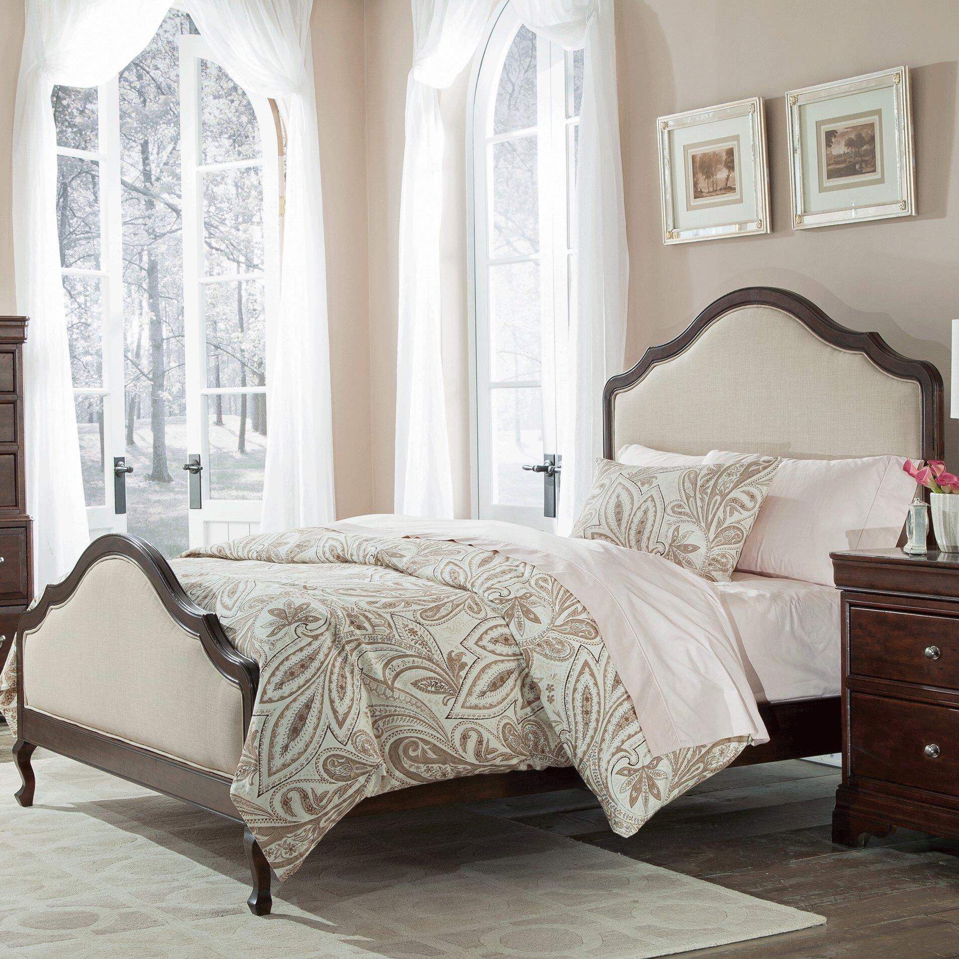 Provence Bedroom Furniture Cresent Furniture Provence Upholstered Panel Bed Reviews Wayfair