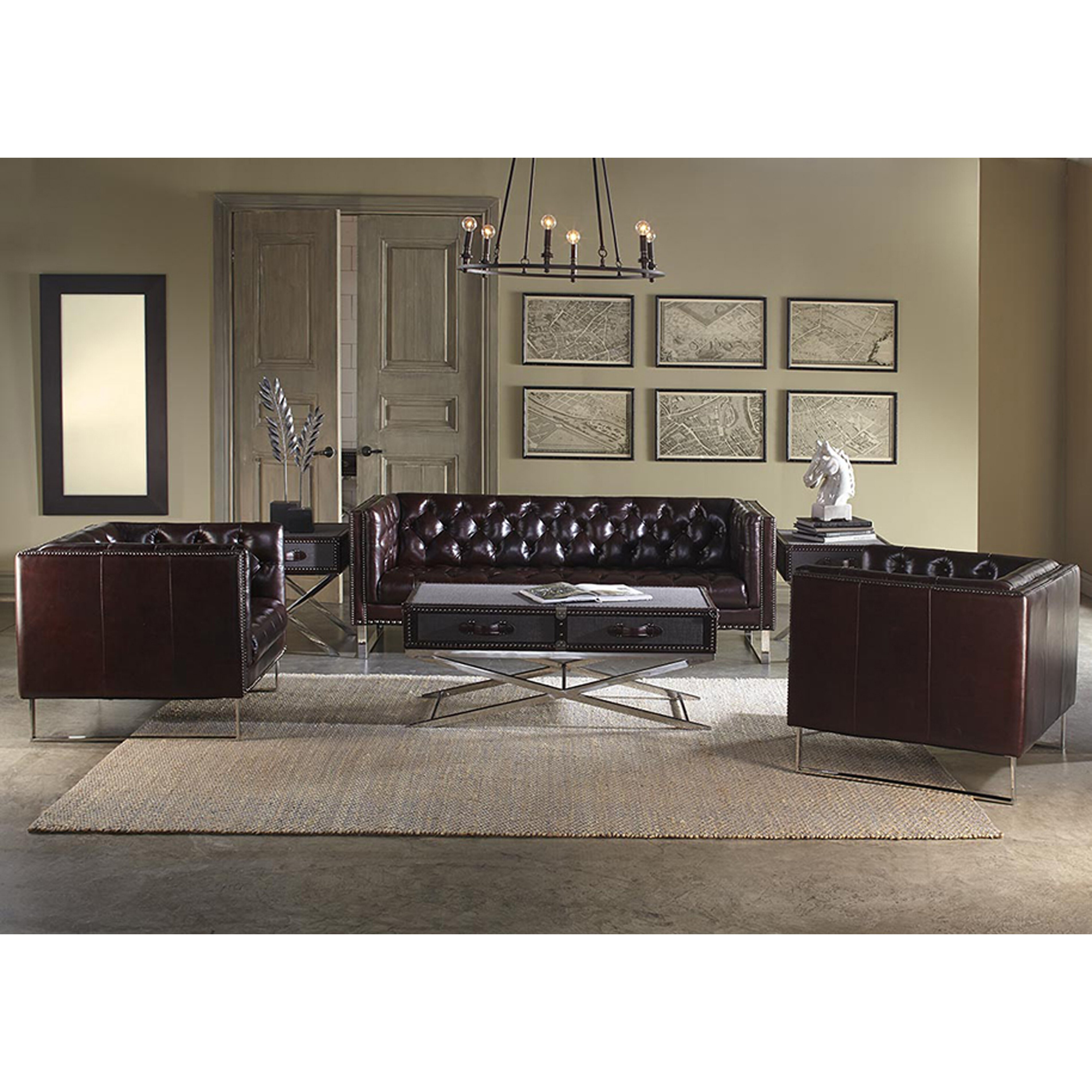 Lazzaro leather bordeaux living room collection
