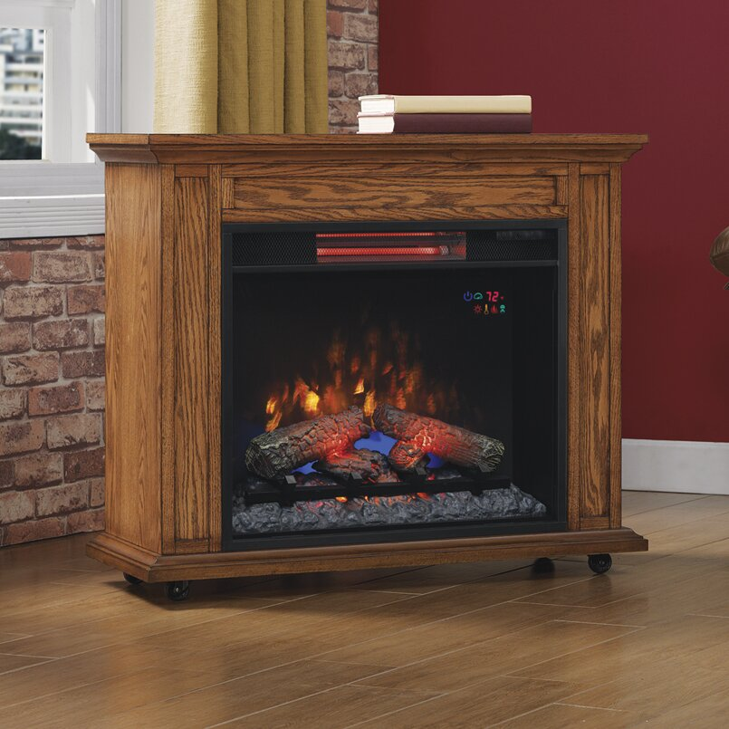 Duraflame Rolling Mantel with Infrared Quartz Electric Fireplace - Duraflame Rolling Mantel With Infrared Quartz Electric Fireplace