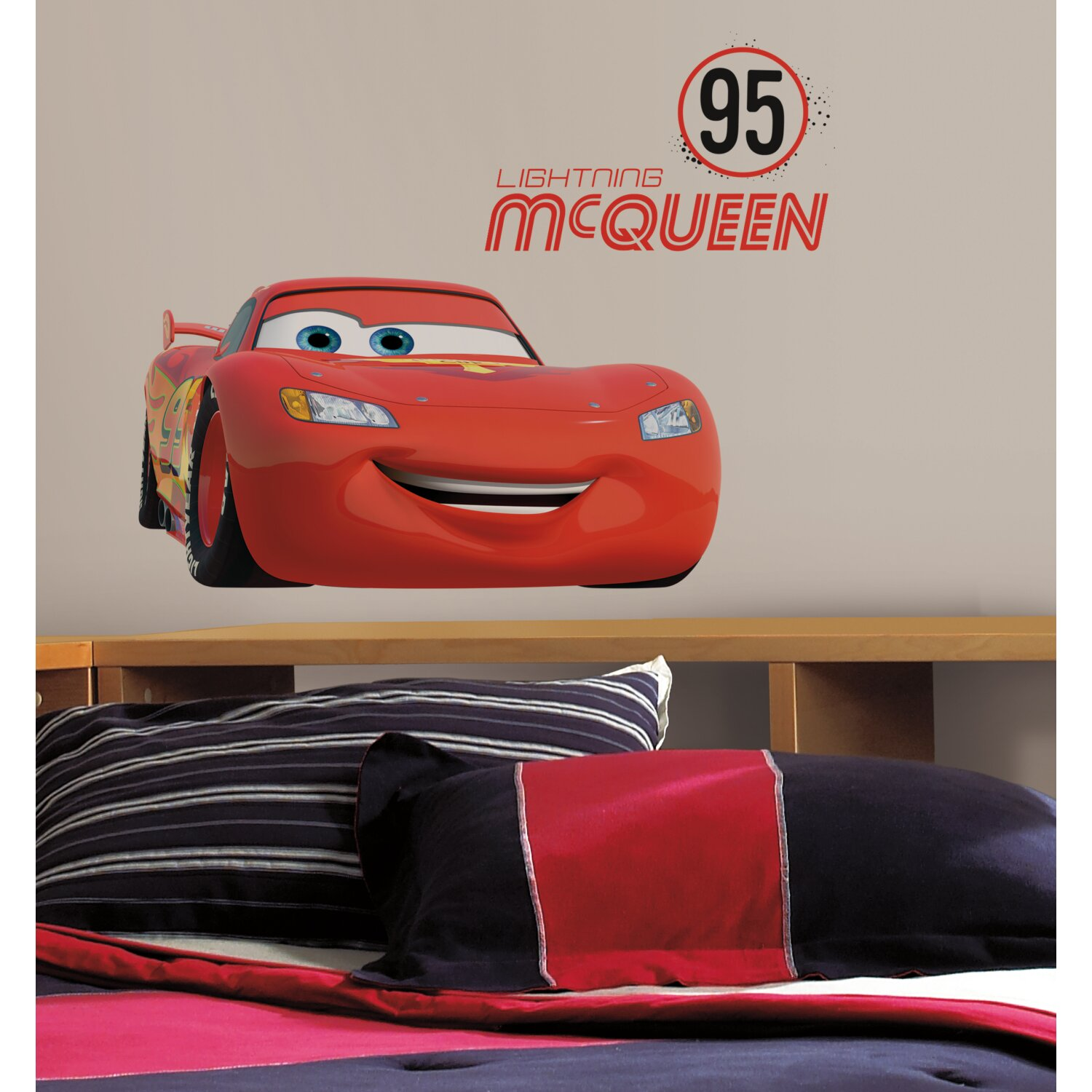 Lightning Mcqueen Bedroom Furniture Room Mates Cars Lightning Mcqueen Number 95 Giant Wall Decal