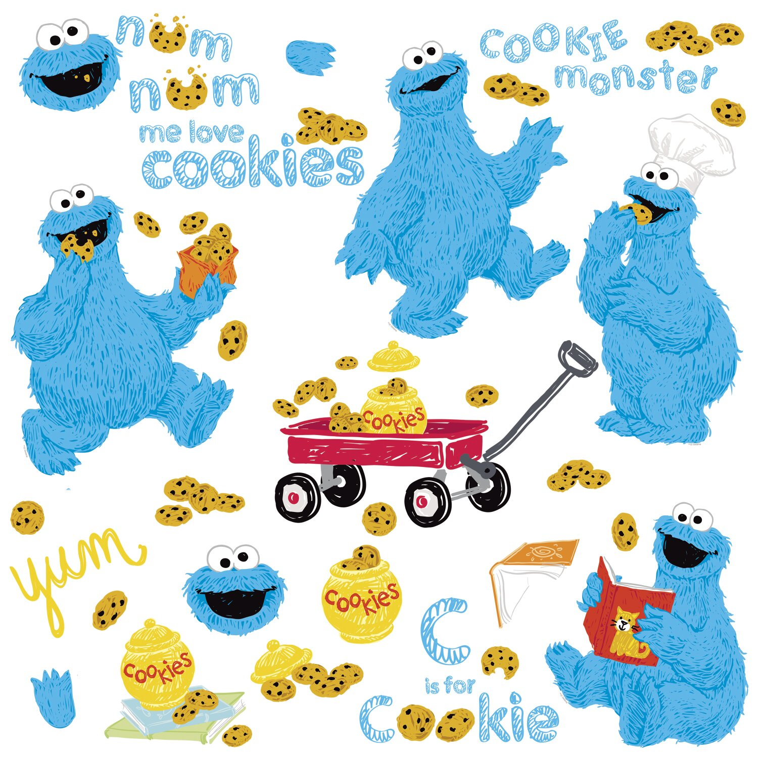 Room Mates Popular Characters Sesame Street Me Love Cookie Monster Wall  Decal