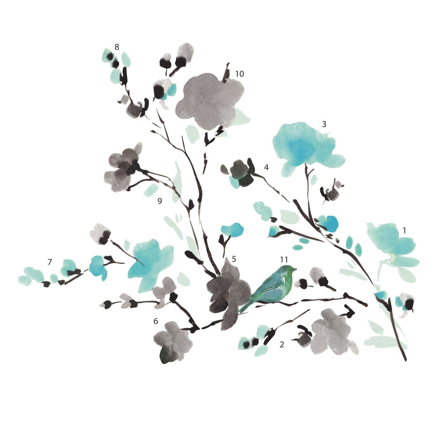 Mermaid decor for bathroom - Room Mates Deco Blossom Watercolor Bird Branch Wall Decal Amp Reviews