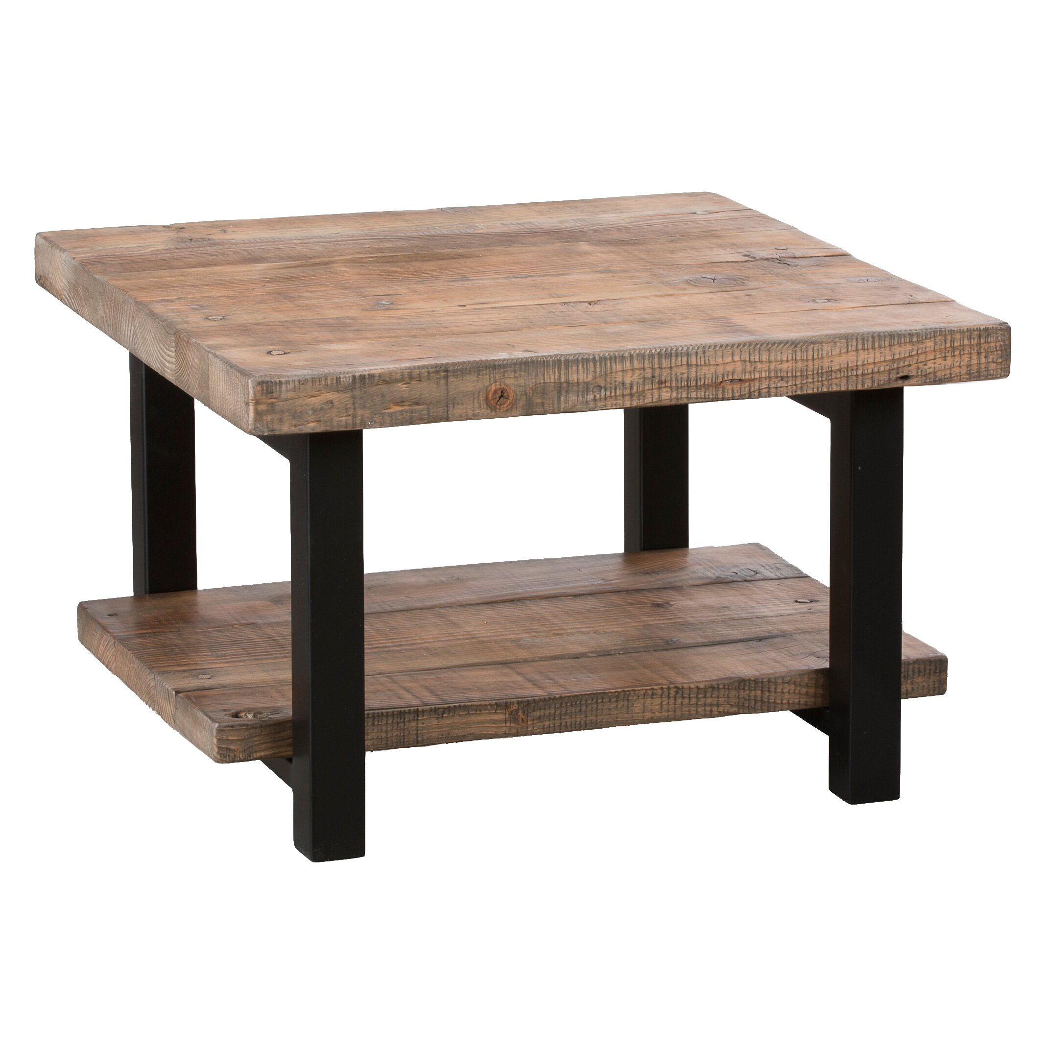 "Square Coffee Table: Loon Peak Somers 27"" Reclaimed Wood Square Coffee Table"