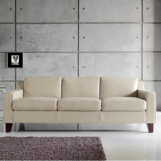 moroni cora full top grain leather sofa wayfair. Black Bedroom Furniture Sets. Home Design Ideas