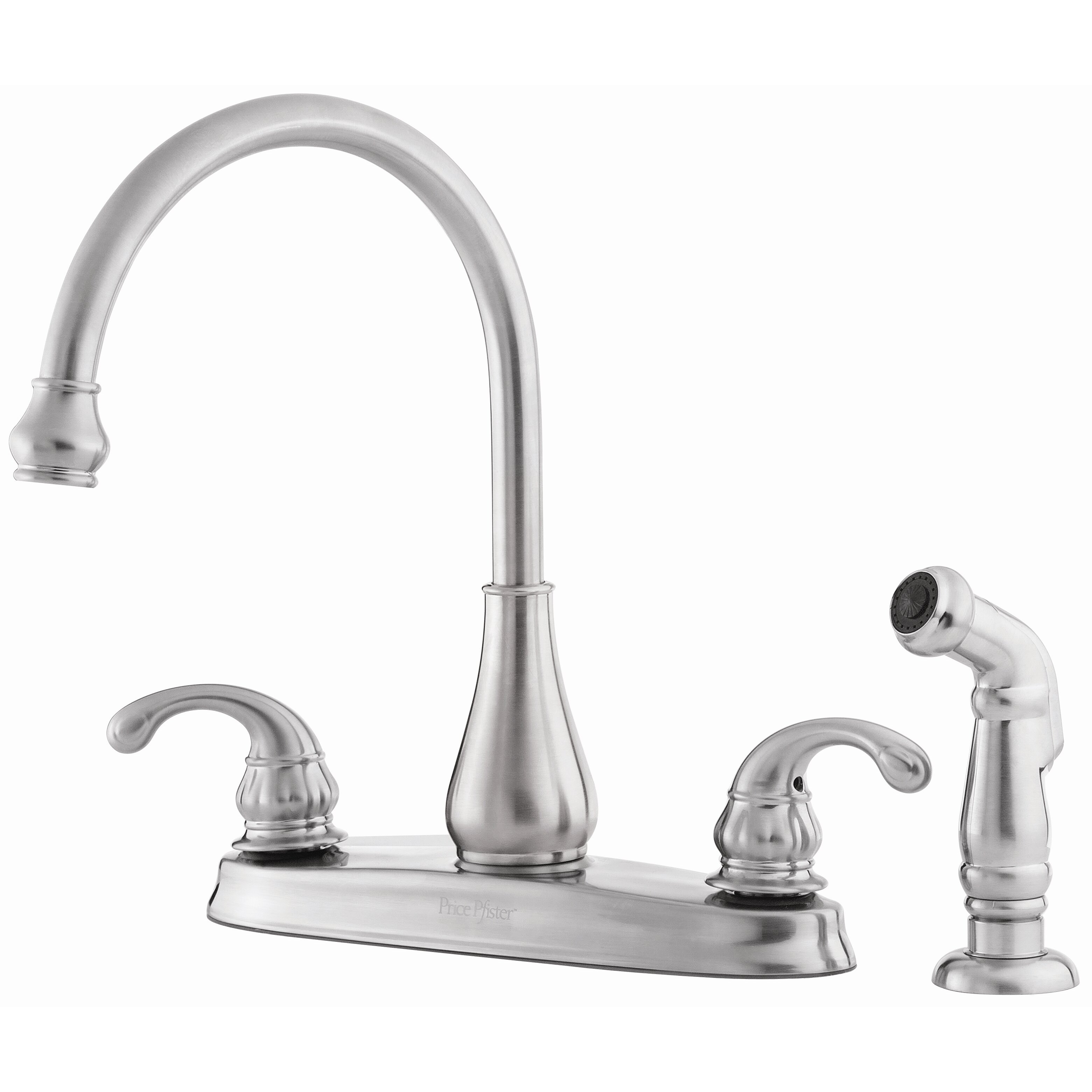 pfister treviso double handle deck mounted kitchen faucet with