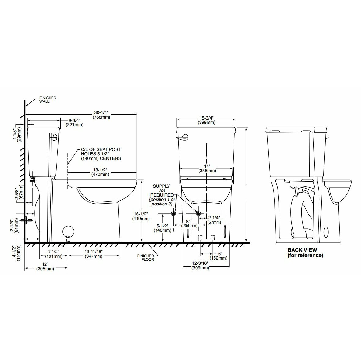 American Standard Cadet Concealed Trapway 3 Right Height