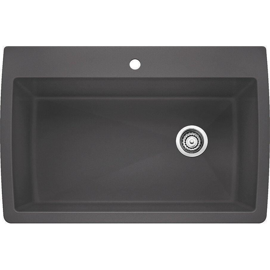 Single bowl vs double bowl kitchen sink - Blanco Diamond 33 5 Quot X 22 Quot Super Single Bowl Drop In Kitchen Sink