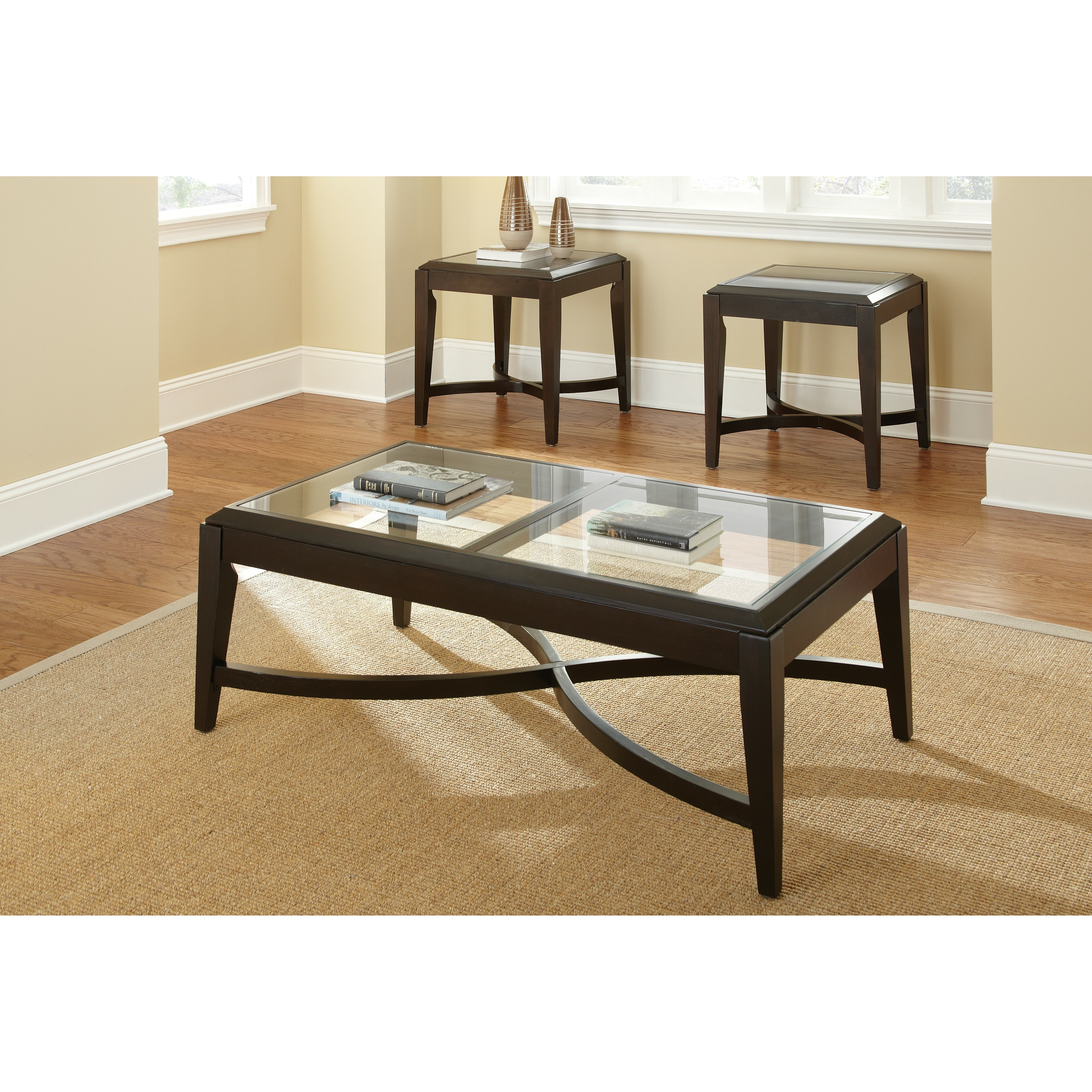 Coffee Table Set Of 3 Steve Silver Furniture Mayfield 3 Piece Coffee Table Set Reviews