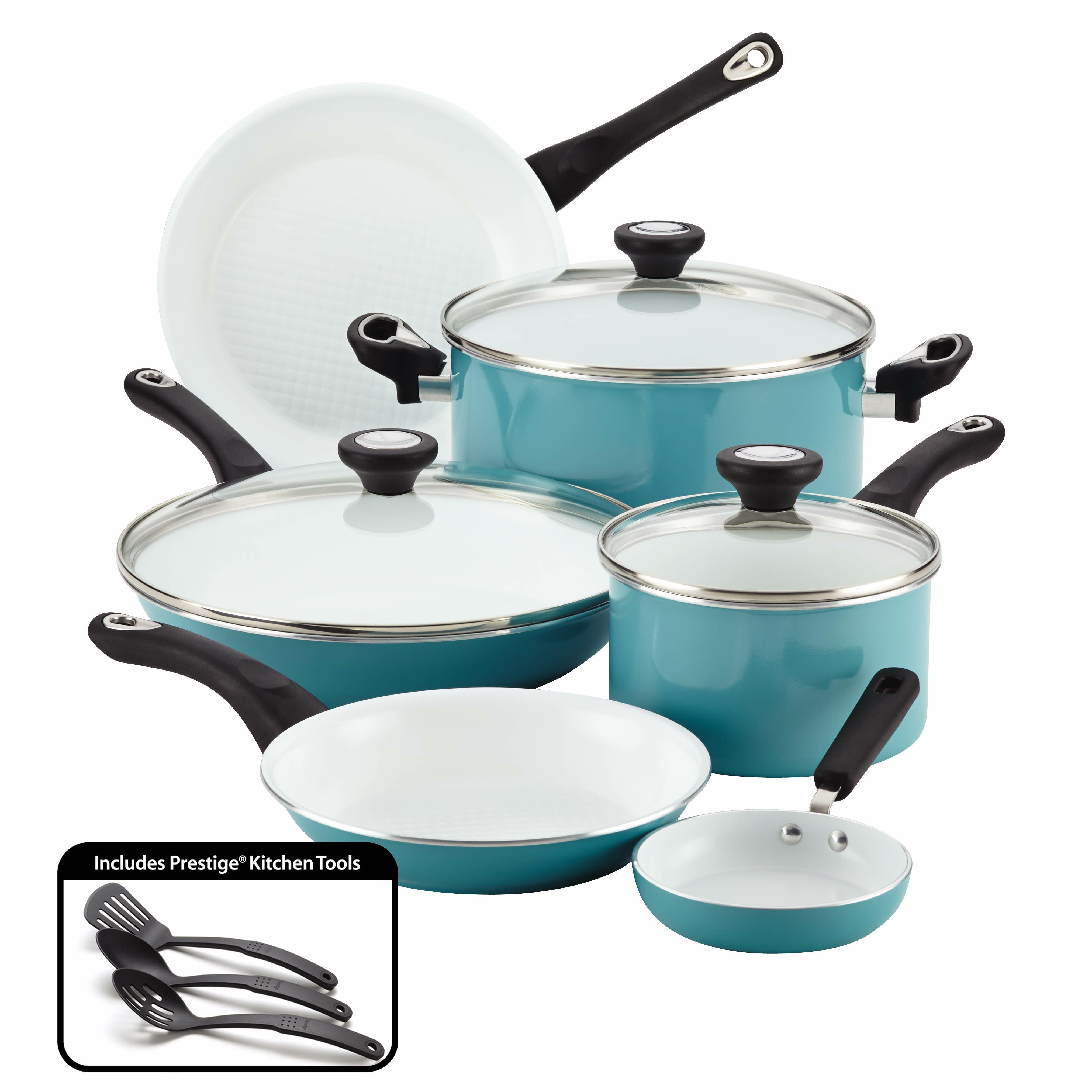 Green Color Aluminium 7pcs Ceramic Cookware Sets In Modern ... |Colorful Ceramic Cookware