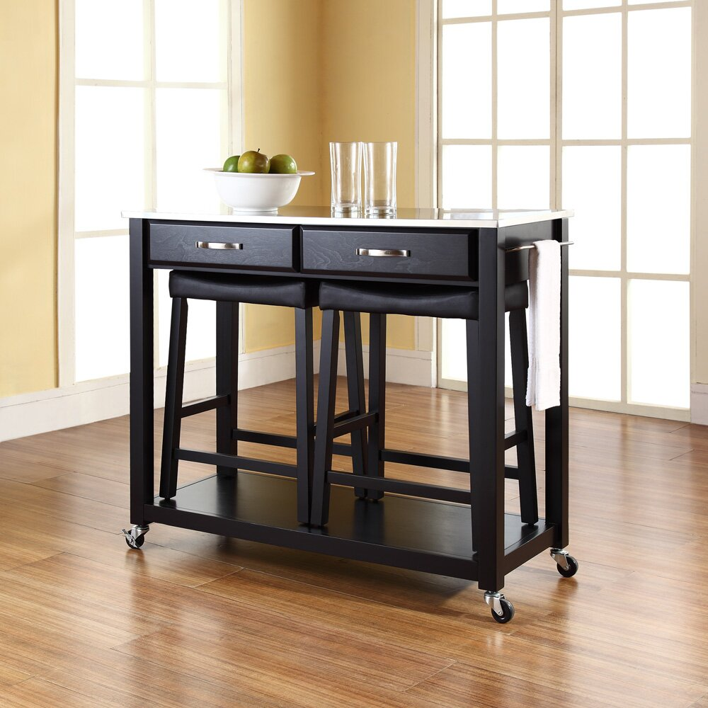 Crosley Kitchen Cart Granite Top Crosley Kitchen Island Set With Stainless Steel Top Reviews