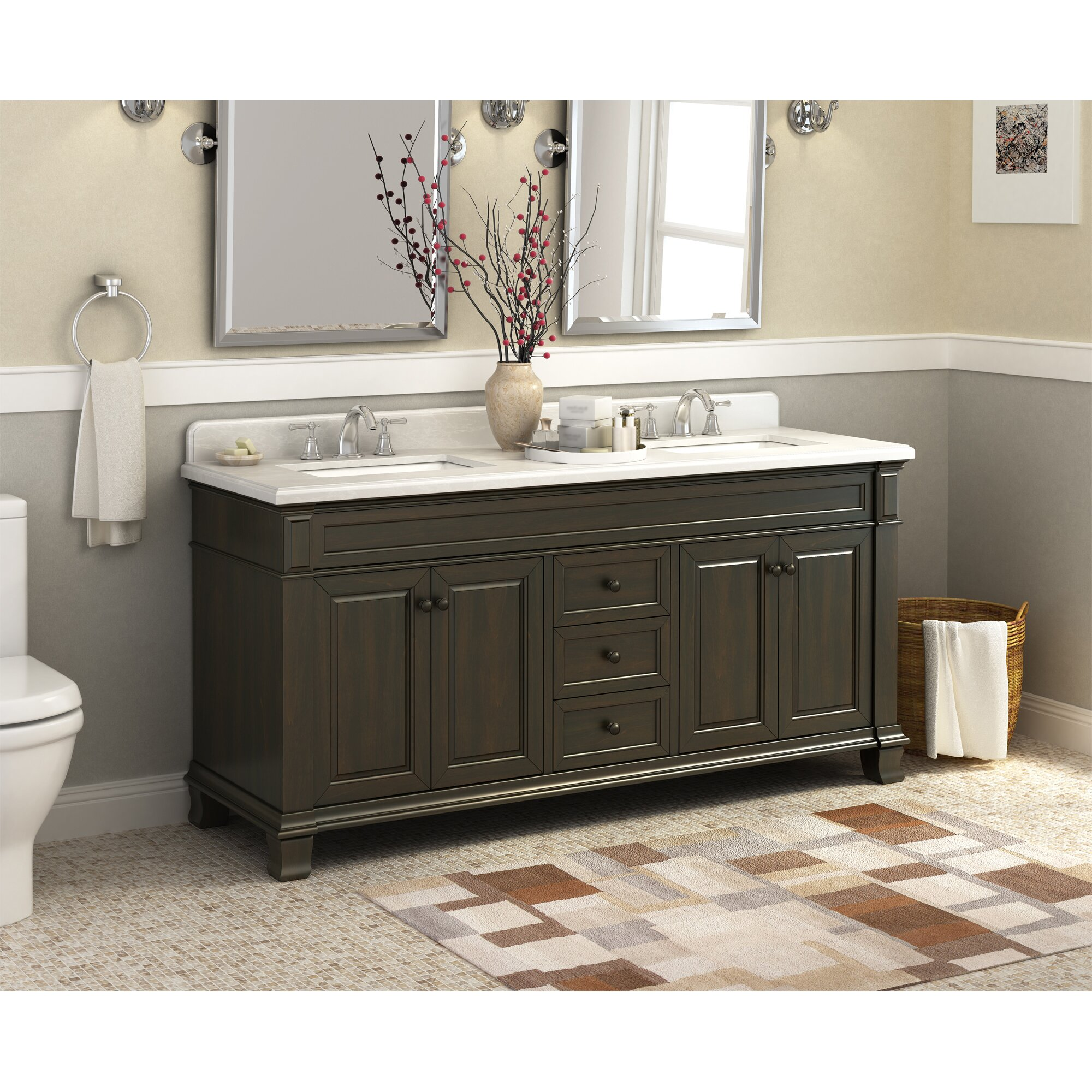 Double bathroom vanity - Lanza Kingsley 72 Quot Double Bathroom Vanity Set