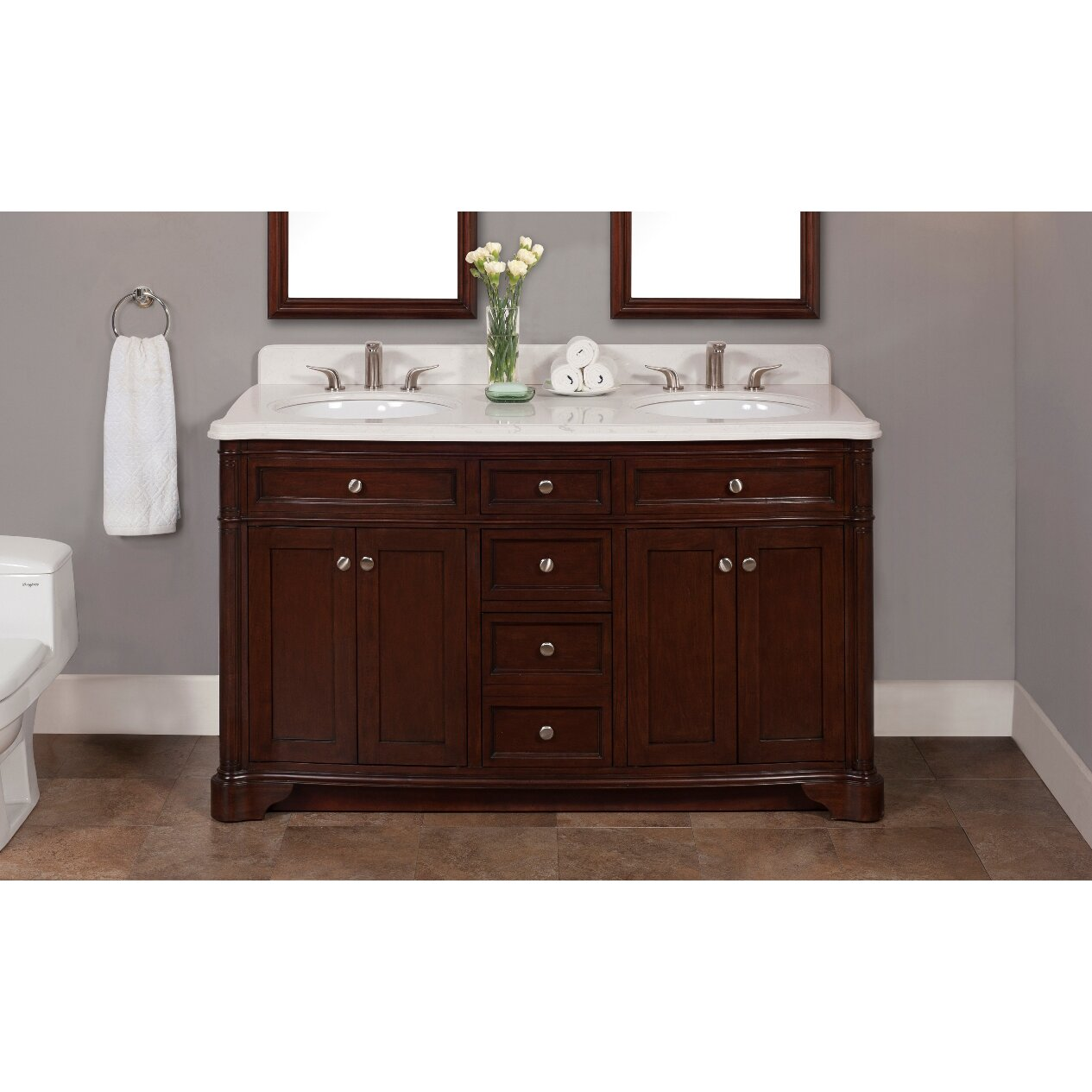 60 Bathroom Cabinet Lanza Chester 60 Double Bathroom Vanity Set Reviews Wayfair