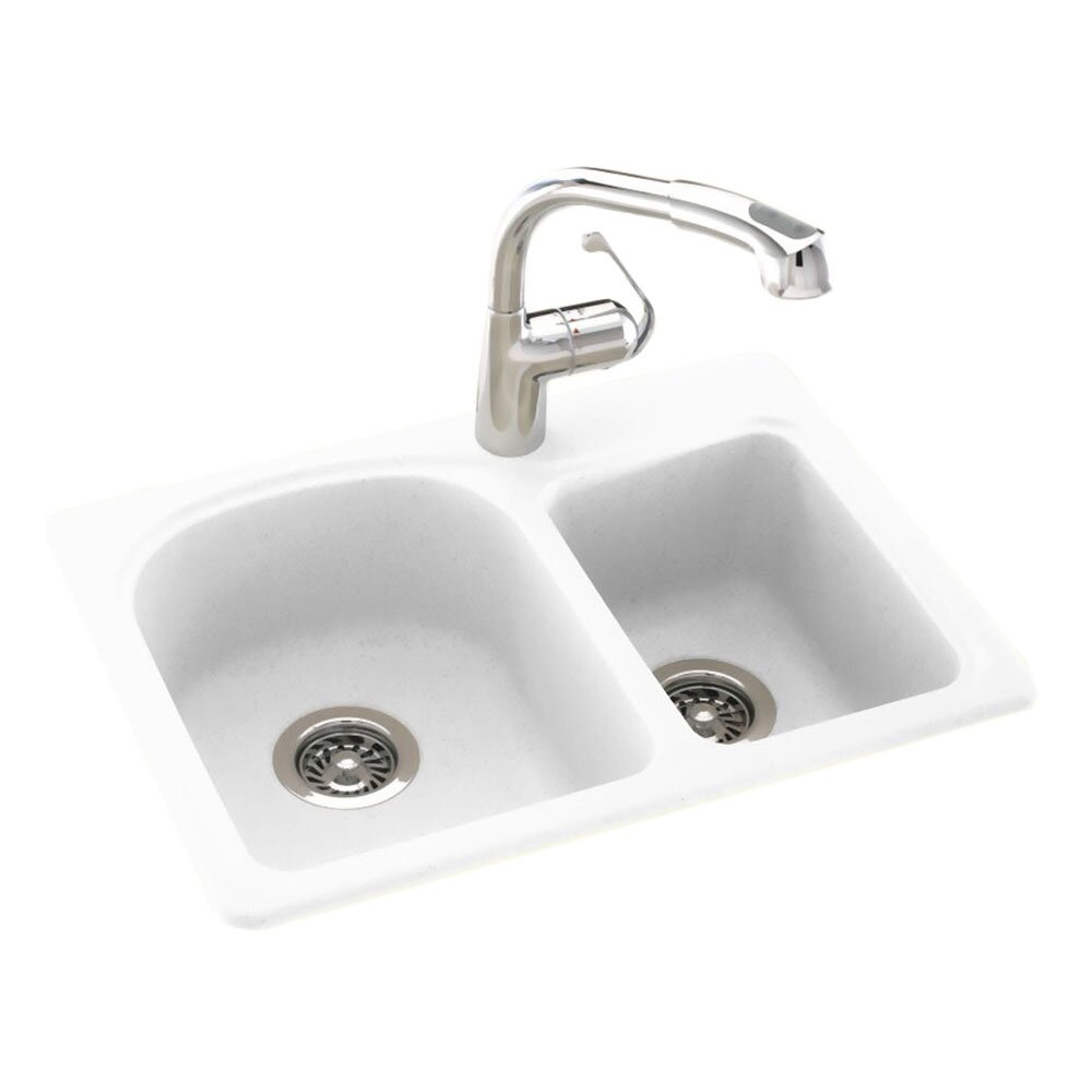 Swanstone Granite Kitchen Sinks Swanstone Swanstone Classics 25 X 18 Space Saver Double Bowl