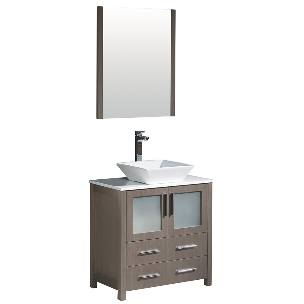 Fresca torino 30 single modern bathroom vanity set with mirror wayfair - Kona modern bathroom vanity set ...