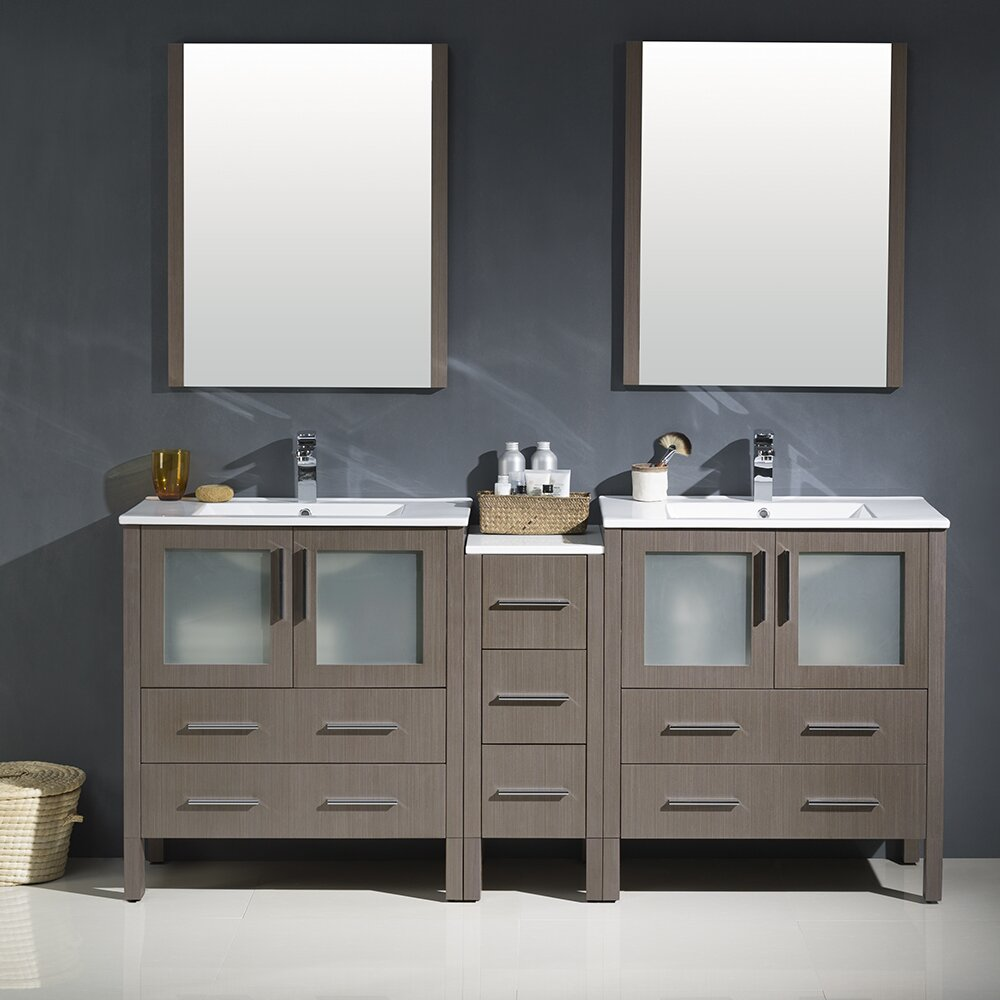 Fresca torino 72 double modern bathroom vanity set with - Contemporary bathroom vanity sets ...
