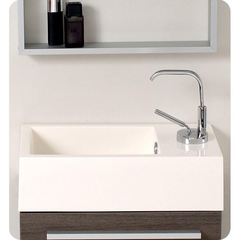 "Fresca Senza 16"" Single Pulito Small Modern Bathroom Vanity Set With Mirror & Reviews"
