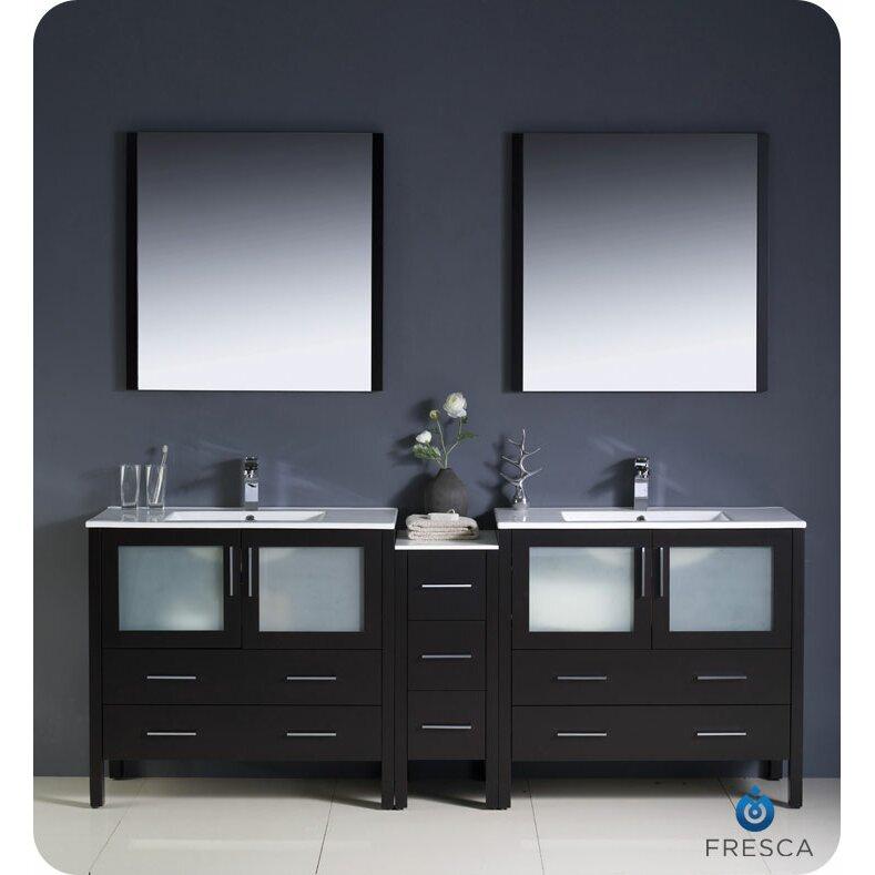 Fresca Torino 84 amp quot  Double Modern Bathroom Vanity Set with Mirror. Fresca Torino 84 quot  Double Modern Bathroom Vanity Set with Mirror