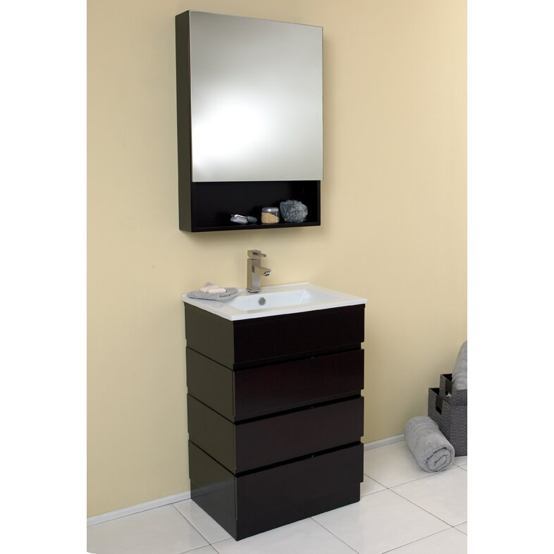 Fresca Stella 24 Single Amato Modern Bathroom Vanity Set With Mirror