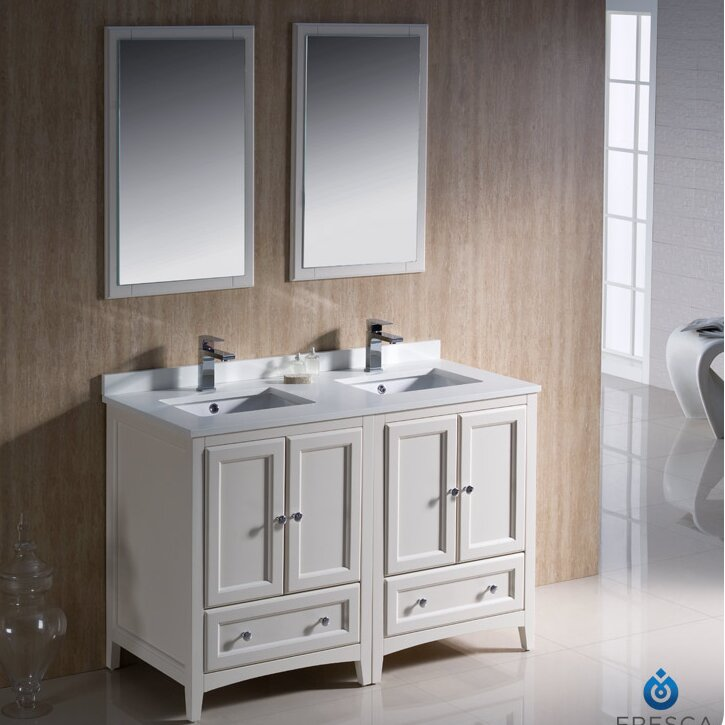 "fresca oxford traditional 48"" double bathroom vanity set with"