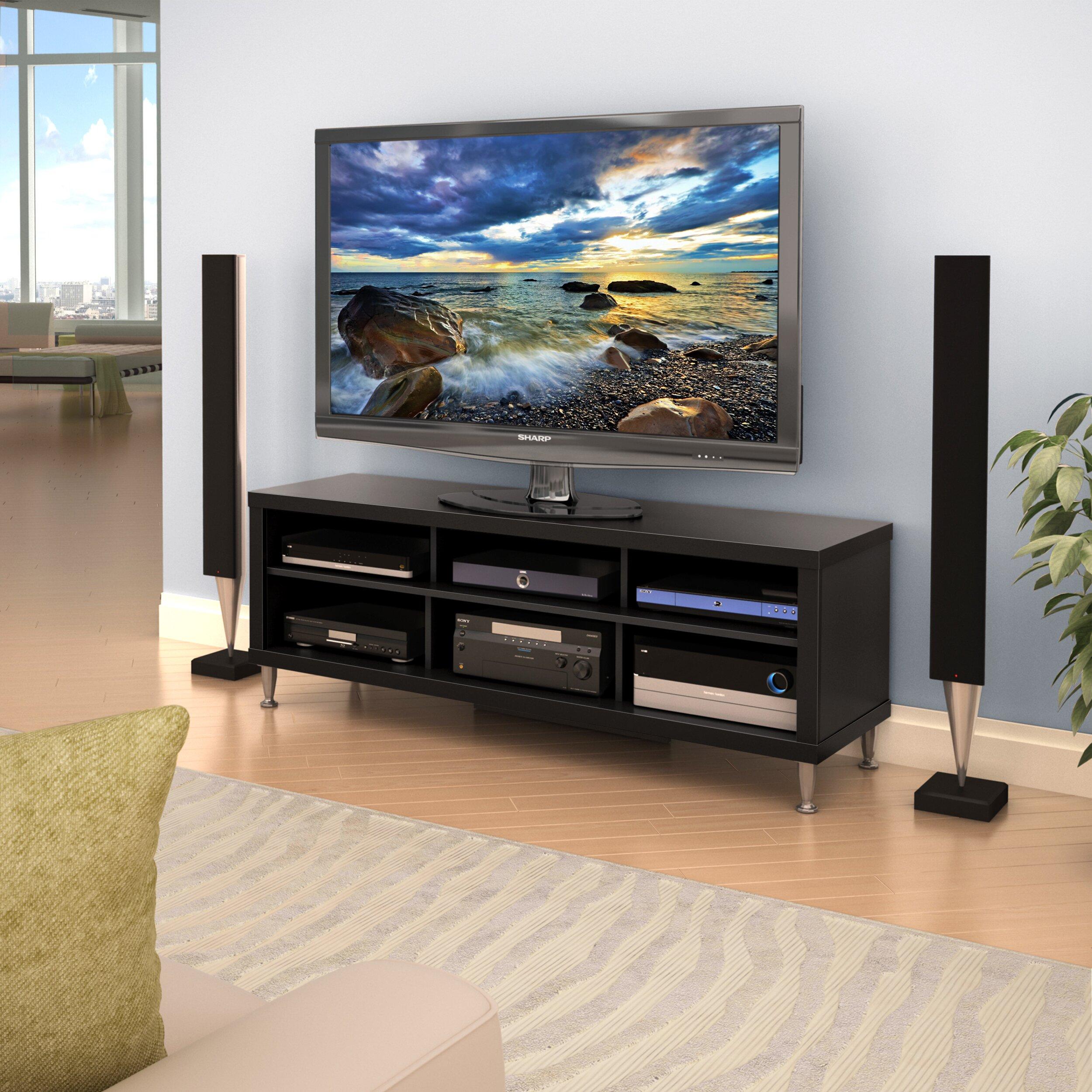 Prepac espresso series 9 wall mounted headboard system with 2 - Prepac Series 9 Black Designer Tv Stand