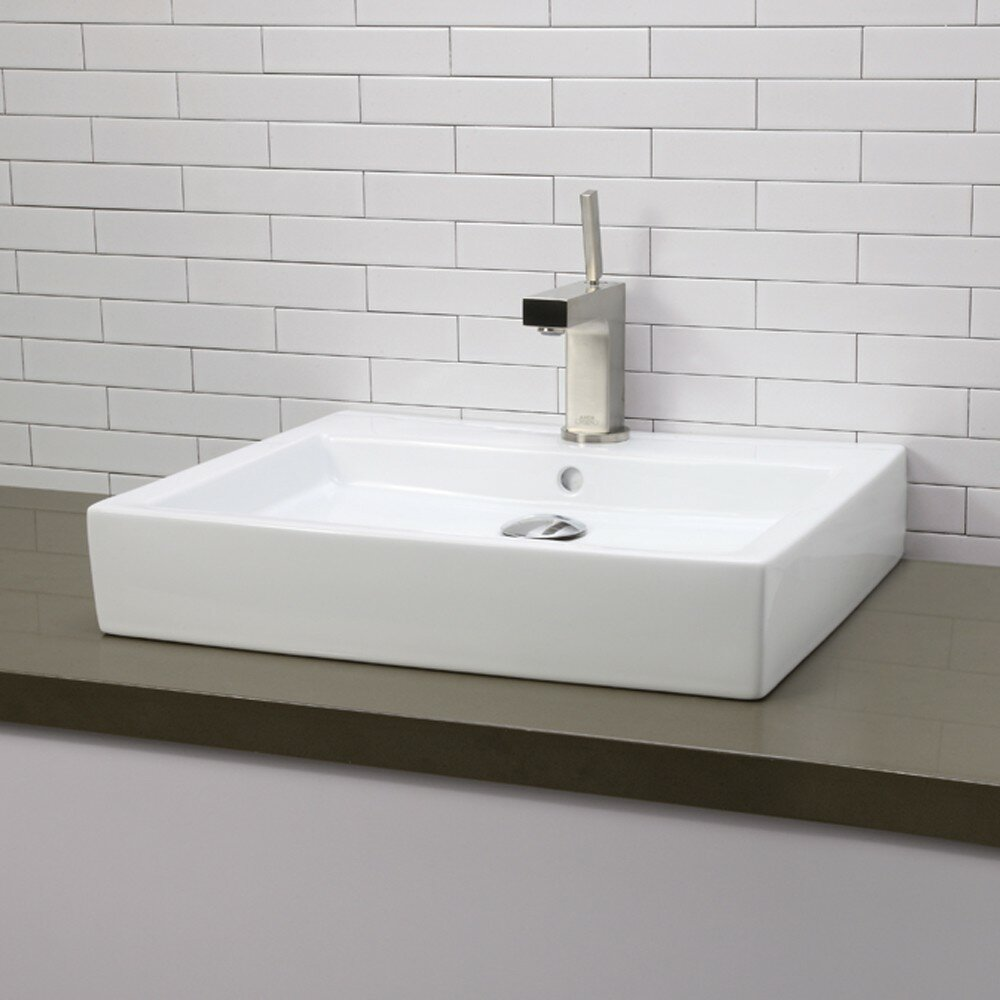 DECOLAV Classically Redefined Rectangular Vessel Bathroom Sink with Overflow